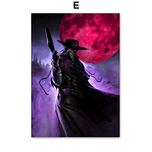 XWArtpic Bloodborne Dark Souls Videospiel Poster Wandkunst Leinwand Malerei Nordic Poster Und Drucke Wandbilder Für Wohnzimmer Decor E 40 * 50 cm - Heilkräuter-drucke