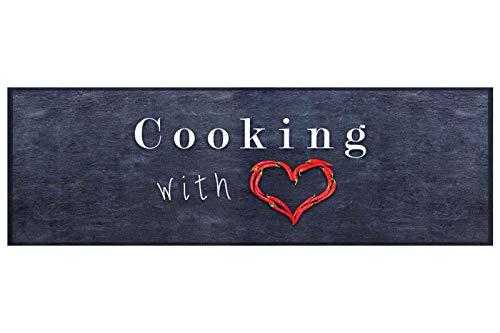 HOMEFACTO:RI Küchenläufer Küchenteppich Teppichläufer Cooking with Love   waschbar, Größe:ca. 45 x 145 cm