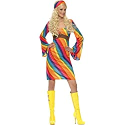 Smiffys Costume hippie arc-en-ciel, avec robe et bandeau
