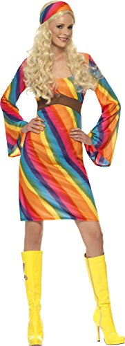 ogen Hippie Kostüm, Kleid und Haarband, Größe: L, 22442 (Ideen Für Ein Hippie Kostüm)