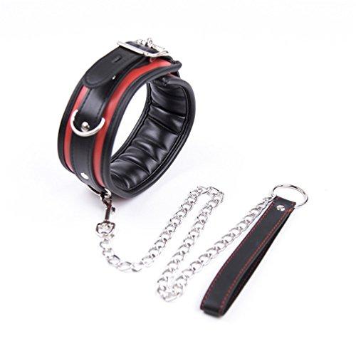 Hanyi Damen Leder SM Halsbänder mit Leine Ketten Einstellbar Erotik Halsband Bondageset Sexspielzeug (Rot)