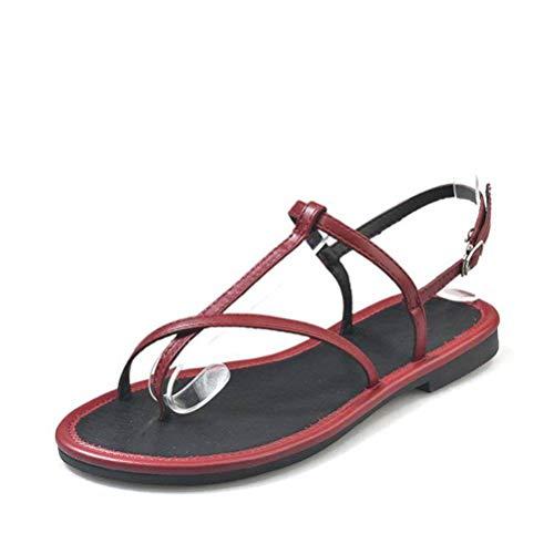 WenMing Damen Damen Casual Leichte Sandaleschuhe Flats & Loafers Summer Beach Klippzehe Schlanke Schnalle Pu-Sandaletten-Flip-Flops für Frauen, Weinrot, EUR 35/UK 3/US 5 -