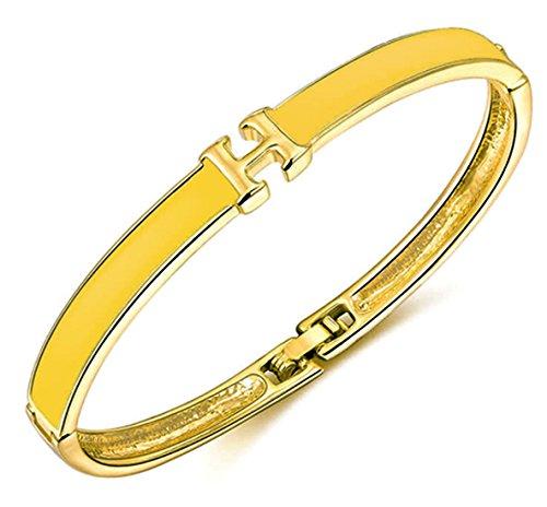 en Rosegold Silber Gold Armreif rose Reifen Farben Blau Weiß Gelb Armband mit Buchstaben H Armreif Breit eckig geometrisch (Gold Gelb) ()
