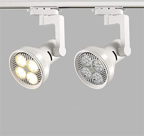 Eulan 2pcs LED Track Light PAR30 Par Light 35W Clothing Store Super Bright Spotlight Single Track Light (White, Warm White) -