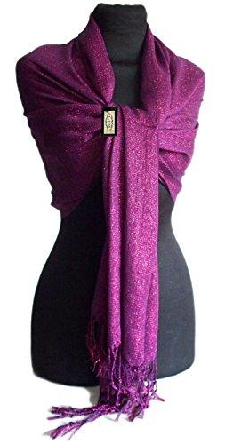 GFM Fastglas Foulard doux Shawl. Strass Soiree Mariage, demoiselles d'honneur Style 1 Seconds Dark Purple (GHJMN3)