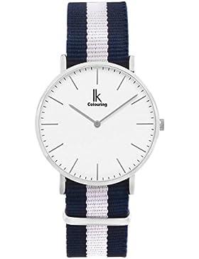Alienwork Quarz Armbanduhr elegant Quarzuhr Uhr modisch Zeitloses Design klassisch Nylon silber blau U04819L-01