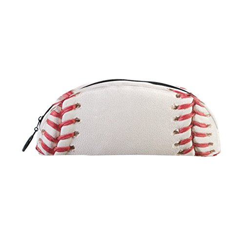 Domoko Sport Ball Baseball Haut Pen Pouch Federmappe Fall Make-Up Kosmetik Tasche mit Reißverschluss (Baseball-haut)