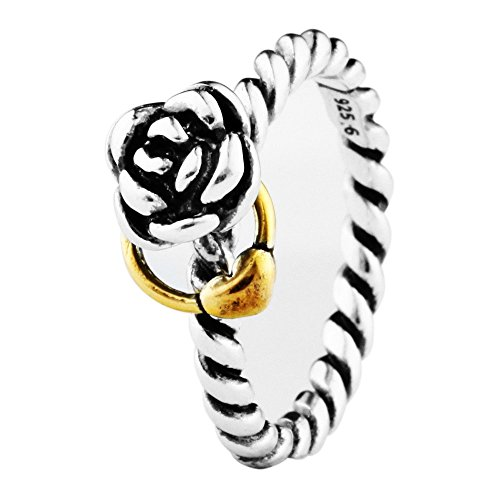 CHANGEABLE Damen-Ringe 925 Sterling Silber Rose Blumen Mädchen Fingerring Größe 56(17.8)