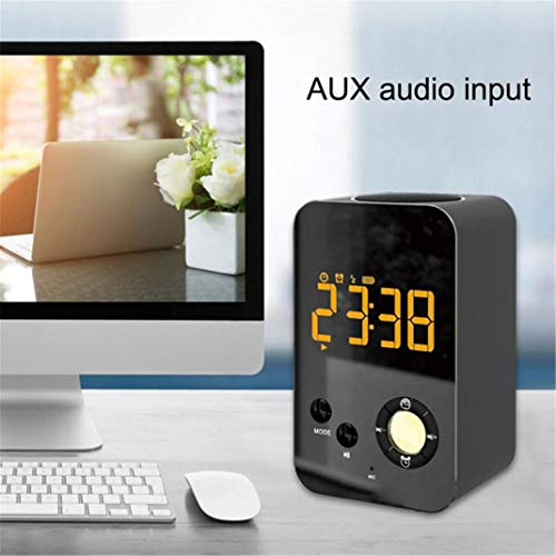 Bluetooth, Smart Low Digital USB FM Radio, Tragbare LCD-Anzeige Subwoofer-Uhr, Unterstützung AUX TF,Black ()