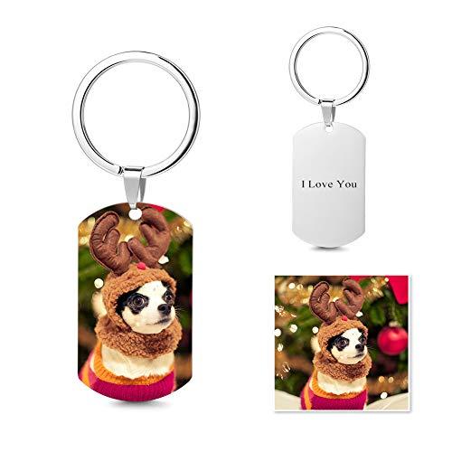 SOUFEEL Unisex Personalisiert Schlüsselanhänger Herz Foto Anhänger mit Text Gravur Edelstahl Wasserdicht Geschenk für Männer