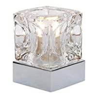 Ice Cube Glass Modern Touch Table Lamp with Chrome Base with BULB INCLUDED by Millhouse Lighting
