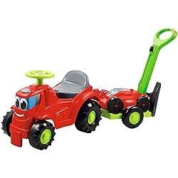 Jouets Ecoiffier -350 - Tracteur + remorque + tondeuse - Jeux de plein air pour enfants - De 12 à 36 mois - Fabriqué en France