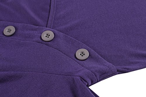 Zeagoo Damen Slim Fit Button Langarmshirt Basic Shirt Bluse Obertaile Tops Lila