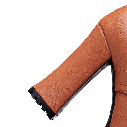 AllhqFashion Damen Schnüren Rund Zehe Hoher Absatz Niedrig-Spitze Stiefel mit Knoten Braun