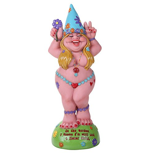 "Lady Gnome ""Flower Child"" Garden Gnome Statue 12H"