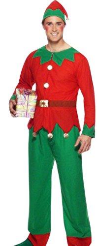 erdbeerloft - Herren Komplett Kostüm Weihnachtself mit Kopfbedeckung , XL, Rot-Grün