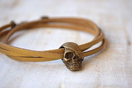Mann Herren Leder Armband Schädel Pandora