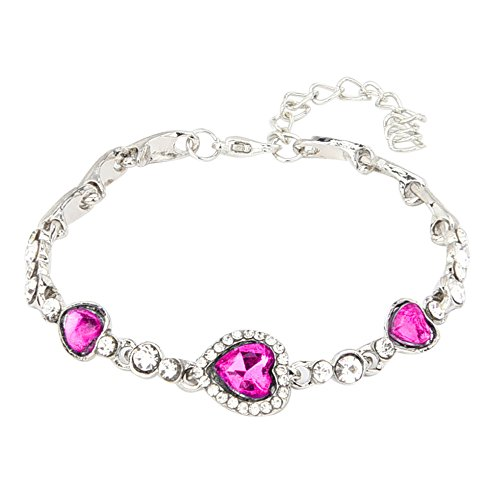 Damen-Armband,Fußkettchen Damen Frauen Ocean Blue Crystal Strass Herz Armreif perfekt geeignet als Geschenk Geschenk für Paare (Pink)