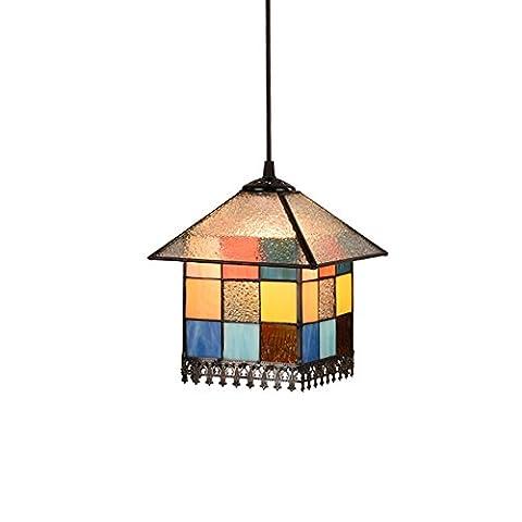 HJXDtech - Nordic style rétro coloré verre pendentif lumière moderne avancée Mignon lampe à souder Plafond Réfectoire Chambre éclairage (E)