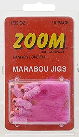 Zoom Pink Marabou Jig 10 Pack 1/32 Ounce - Ideal For Crappie/Pike/Bass/Walleye