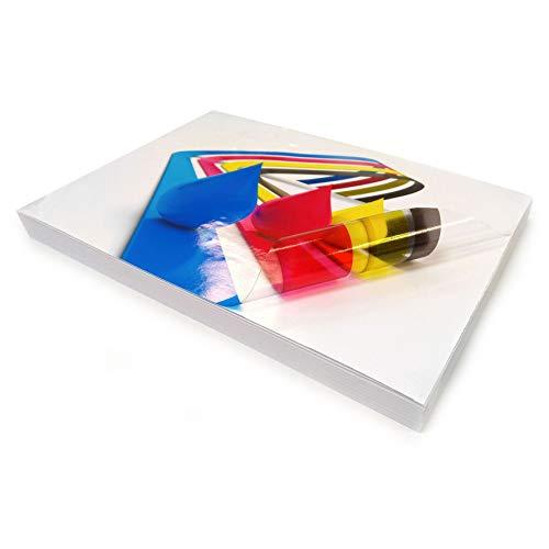 10 Fogli di carta adesiva, trasparente e lucida, formato A4, in vinile auto-adesivo di alta qualità, stampabili con stampanti a getto di inchiostro