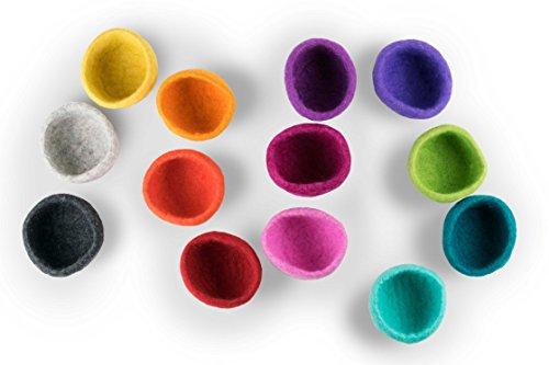 Set aus handgemachten Filzschalen in Petrol, Lila und Rosa aus 100% reinem Wollfilz. Sehr hochwertig aus Merinowolle in edler Farbkombination. Durchmesser 10 cm, Höhe 5 cm. Dekoschale, Taschenleerer, Aufbewahrungsschale, Übertopf Filzkorb
