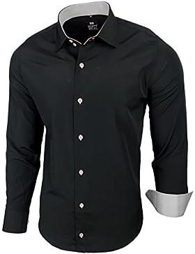 Camicia da uomo per business, matrimonio, tempo libero, taglio aderente–S M L XL XXL, R-44 nero/grigio XXXXXXL