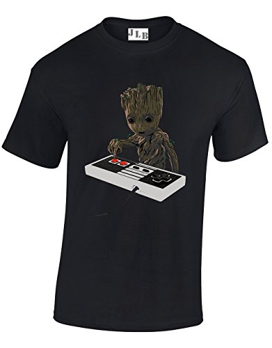 JLB Print Baby Groot Playing a SNES Super Hero Movie & Comic Book Fan Premium Quality Regular Fit T-Shirt Top for Men and Teens