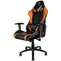 ThunderX3 TGC15 - Silla gaming profesional (altura regulable, respaldo ajustable 180 grados, bloqueo inclinación, reposabrazos 2 direcciones, reposacabezas y almohada lumbar) color negro y naranja