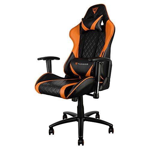ThunderX3 TGC15 Chaise de gaming professionnelle (inclinaison, hauteur et accoudoirs réglables, ergonomique, matelassée et commode, avec roulettes)