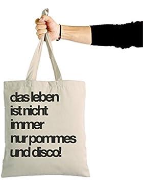 Jutebeutel POMMES UND DISCO - Statement Jutebeutel - Stoffbeutel mit Spruch - 100% Biobaumwoll-Canvas - Hochwertige...