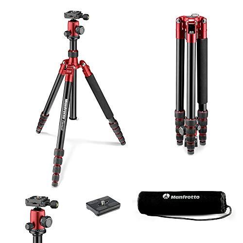 Manfrotto Element Traveller Aluminium Kit (groß, leichtes Reisestativ aus Aluminium mit Kugelkopf, verwandelbar in ein Einbeinstativ, inkl. Tragetasche und Spikes, geeignet für Arca Swiss) rot