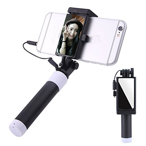 Aeeque Bastone Selfie Specchio Samsung A8 2018/A3 2015/A5 2016/A7 2017/J3/J5/J7 Selfie Stick Universale Cable Filo Regolabile Autoritratto Monopiede per Samsung, Huawei, iPhone, LG, Sony, HTC - Nero