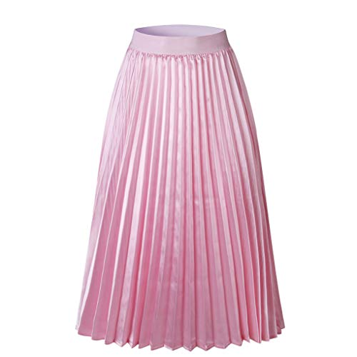 CUTUDE Damen Röcke, Frauen Sommer Hohe Taille A Linien Plissee Elegante Elastische Taille Midi Chiffon Rock Ladies Long Swing Skirt (Rosa, Large)