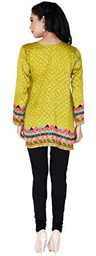 Indian Kurti Top Tunique Imprimé Femmes Blouse Inde Vêtements Vert