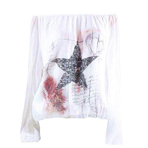 Hevoiok Herbst Sommer Langarmshirt Damen Fashion Sexy Stern Drucken Schulterfrei Top T-Shirt Sexy Fraun Oberteile locker Oversize Lange Ärmel Bluse S-5XL (Weiß, 3XL)