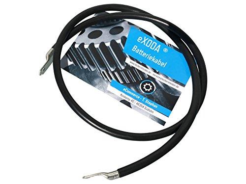 eXODA Câble de Batterie 1,8m câble d'alimentation en cuivre 16 mm² avec cosses à œillets M6 + M10 Noir 12V câble de Voiture