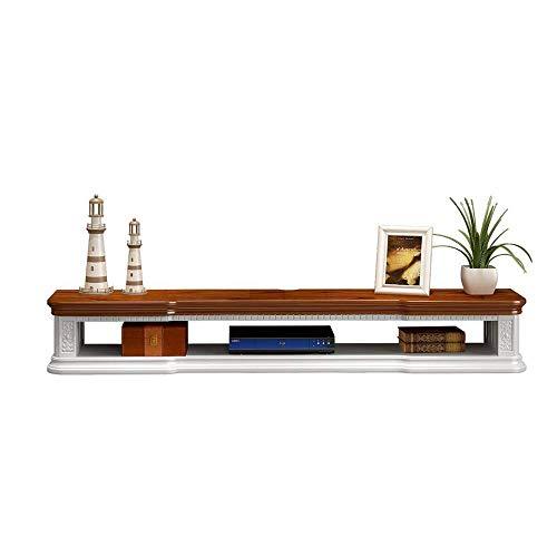 Willesego Schwimmender TV-Ständer TV-Konsole Wand-TV-Schrank aus massivem Holz Set Top Box Storage Cabinet Regal (Farbe: Weiß, Größe: 80 * 24 * 17cm) (Farbe : Brown+White, Größe : 80 * 24 * 17cm) -