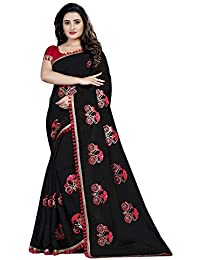 Orangesell Women`s Chanderi Cotton Embroidery Work Saree With Unstitched Blouse