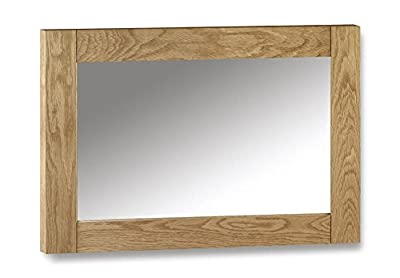 Happy Beds Marlborough Waxed Oak Wooden Wall Hanging Mirror Large Bedroom