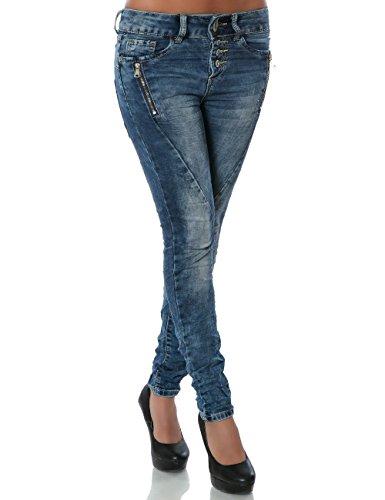 Damen Boyfriend Jeans Hose Reißverschluss Knopfleiste No 14199, Farbe:Blau;Größe:36 / S