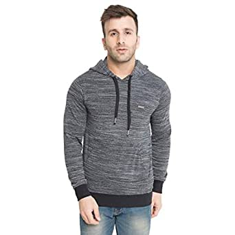 CHKOKKO Winter Wear Full Sleeves Hooded Sweatshirt for Men Black