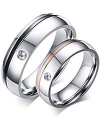 KNSAM - Par de anillos de compromiso de acero inoxidable de joyería para ella y él
