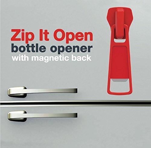 Bitten Zipper Bottle Apribottiglia, Gomma, Rosso