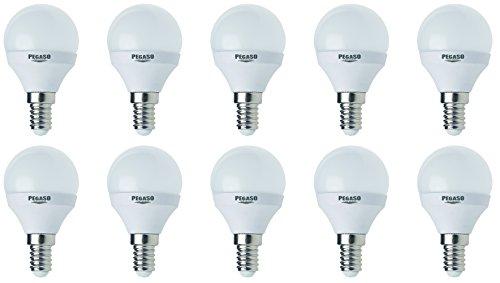 Set di 10 LAMPADINE SFERA P45 LED PEGASO, 7W, E14, Lampada LED, ø45x81, 6000K, Luce BIANCA, 595 Lm, sostituisce 42W, raggio di illuminazione 200°. [Classe di efficienza energetica A+]