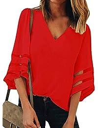 Targogo Mujer Tshirt Mangas 3/4 V-Cuello Shirts Camisas Señoras Fashion Elegantes Basic