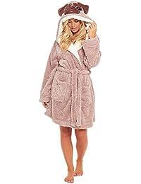 bccfe7ecec Slumber Hut® Pug Dog Fleece Dressing Gown for Ladies - Novelty Animal Face  Hooded Snuggle