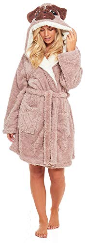 MOPS Pug Dog Hund Frauen Damen Flauschige DICK Luxus Fleece Morgenmantel Hausmantel Robe Farbe Nerz EUR 36 38 40 42 44 46 48 50 -