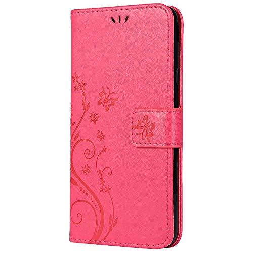 Vectady für Samsung Galaxy S5 Mini [NO für S5] Hülle, Handytasche Leder Case Handyhüllen Schutzhülle Flip Cover Tasche Magnet Klapphülle PU Ledertasche für Samsung Galaxy S5 Mini,Rose Rot Mini-flip-cover