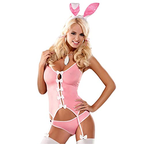 Fancy Bunny Damen Kostüm Dress - Sexy Pink Bunny Suit Damen 4 PCS Fancy Dress Party Kostüm Hen Party S bis XXL von Obsessive Gr. Small/Medium, Rosa - Pink